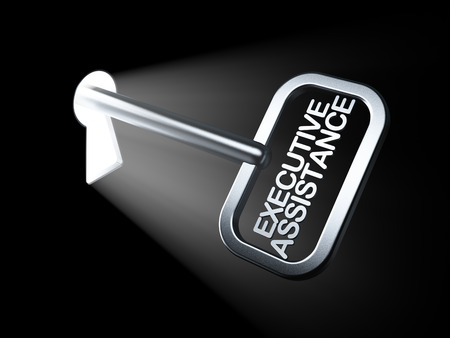 Business concept: Executive Assistance on key in keyhole, 3d render photo