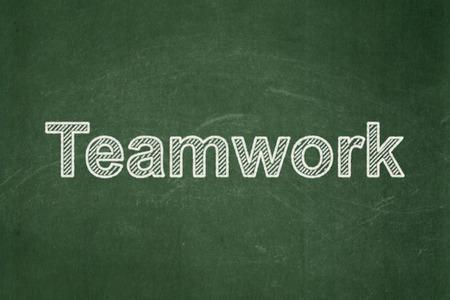 buisnes: Teamwork on Green chalkboard background