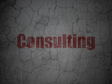 busines: Red Consulting on grunge textured concrete wall background