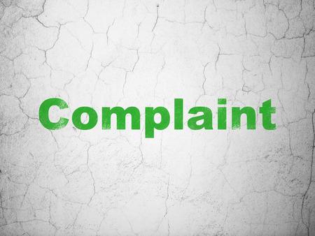 complaint: Law concept: Green Complaint on textured concrete wall background, 3d render