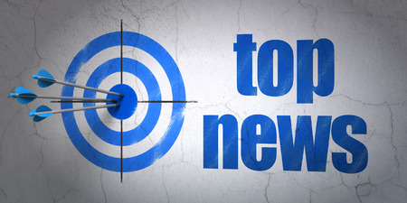 Success news concept: arrows hitting the center of target, Blue Top News on wall background photo