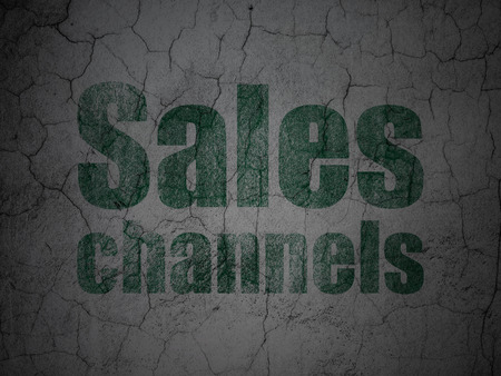 channels: Advertising concept: Green Sales Channels on grunge textured concrete wall background Stock Photo
