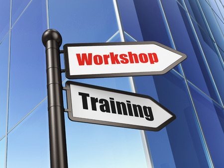 Education concept: sign Workshop Training on Building background photo