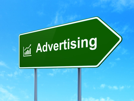 Advertising concept: Advertising and Growth Graph icon on green road (highway) sign, clear blue sky background photo