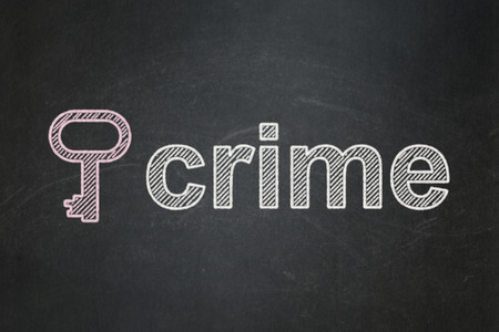 Security concept: Key icon and text Crime on Black chalkboard background, 3d render photo