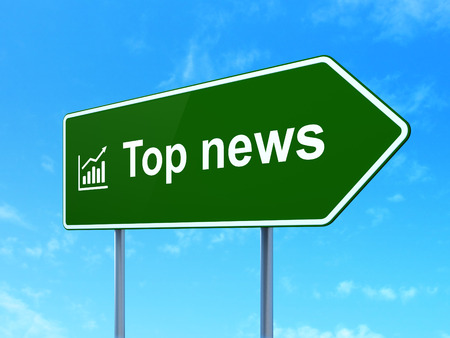 News concept: Top News and Growth Graph icon on green road (highway) sign, clear blue sky background photo