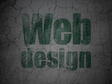 Web design concept: Green Web Design on grunge textured concrete wall background photo