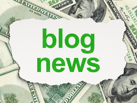 News concept: torn paper with words Blog News on Money background photo