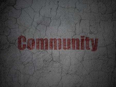 microblog: Social network concept: Red Community on grunge textured concrete wall background