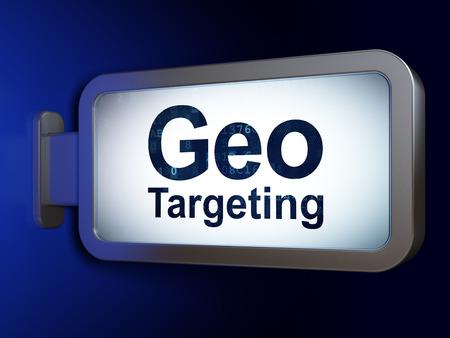 busines: Business concept: Geo Targeting on advertising billboard background, 3d render