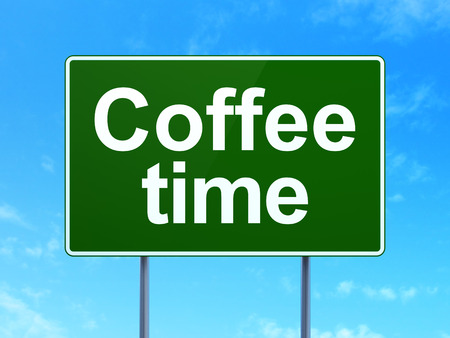 Timeline concept: Coffee Time on green road (highway) sign, clear blue sky background, 3d render photo