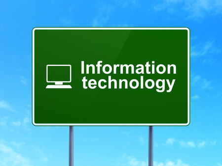 Data concept: Information Technology and Computer Pc icon on green road (highway) sign, clear blue sky background, 3d render photo