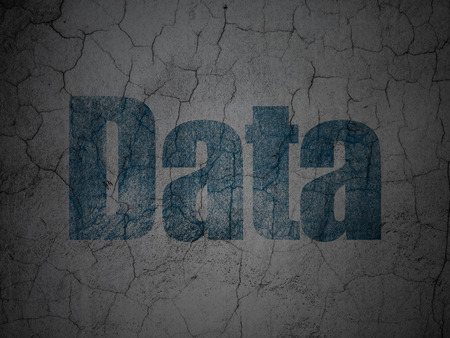 Data concept: Blue Data on grunge textured concrete wall background, 3d render photo