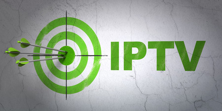 Success web development concept: arrows hitting the center of target, Green IPTV on wall background, 3d render photo