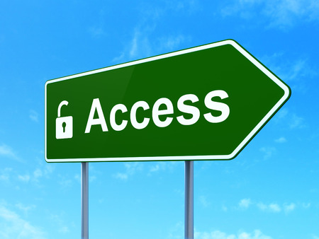 Protection concept: Access and Opened Padlock icon on green road (highway) sign, clear blue sky background, 3d render photo