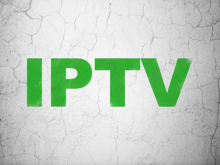Web development concept: Green IPTV on textured concrete wall background, 3d render photo