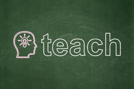 Education concept: Head With Lightbulb icon and text Teach on Green chalkboard background, 3d render photo