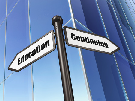Education concept: sign Continuing Education on Building background, 3d render photo