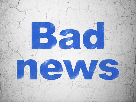 bad news: News concept: Blue Bad News on textured concrete wall background, 3d render