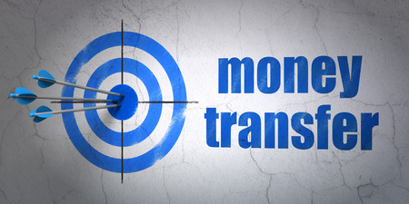 Success finance concept: arrows hitting the center of target, Blue Money Transfer on wall background, 3d render photo