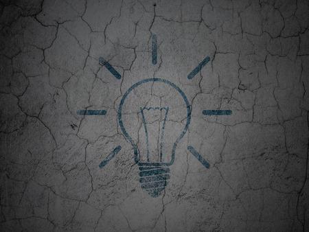 Finance concept: Blue Light Bulb on grunge textured concrete wall background, 3d render photo