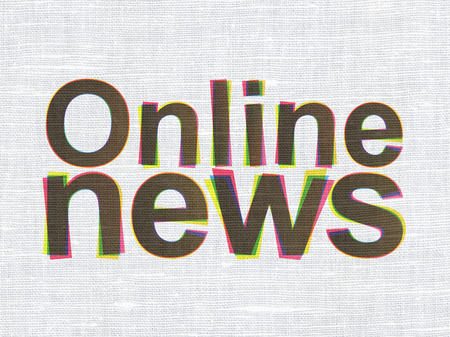 News concept: CMYK Online News on linen fabric texture background, 3d render photo