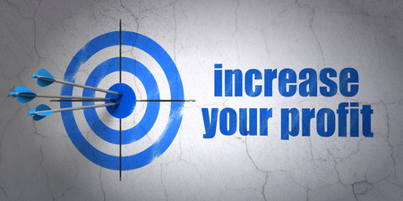 Success finance concept: arrows hitting the center of target, Blue Increase Your profit on wall background, 3d render photo