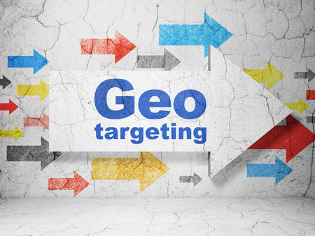 Finance concept:  arrow with Geo Targeting on grunge textured concrete wall background, 3d render