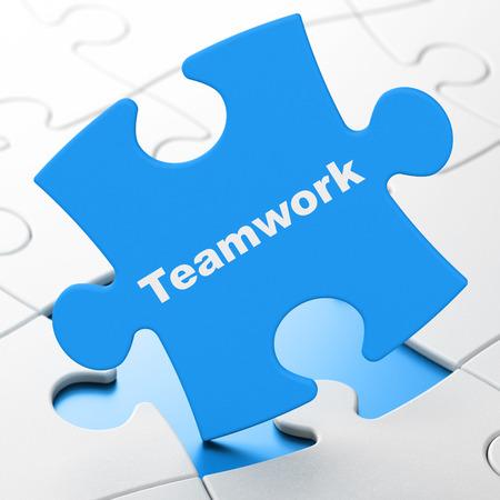 Business concept: Teamwork on Blue puzzle pieces background, 3d render photo