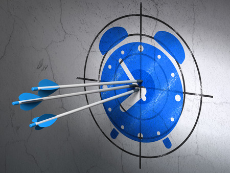 Success time concept: arrows hitting the center of Blue Alarm Clock target on wall background, 3d render photo