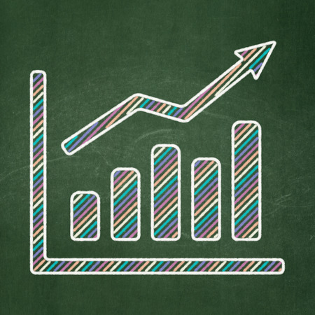 Finance concept: Growth Graph icon on Green chalkboard background, 3d render photo