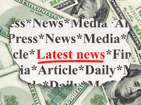 News concept: torn newspaper with words Latest News on Money background, 3d render photo