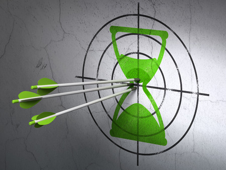 Success time concept: arrows hitting the center of Green Hourglass target on wall background, 3d render photo
