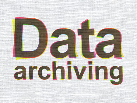 archiving: Information concept: CMYK Data Archiving on linen fabric texture background, 3d render Stock Photo