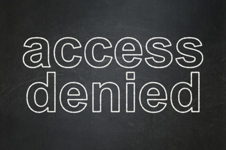 Safety concept: text Access Denied on Black chalkboard background, 3d render photo