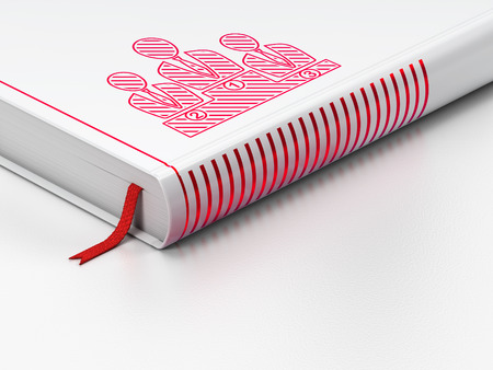 News concept: closed book with Red Business Team icon on floor, white background, 3d render photo