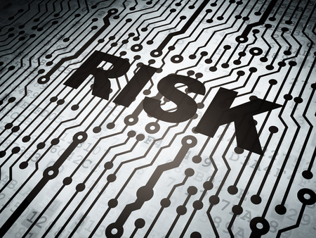 Finance concept: circuit board with  word Risk, 3d render photo