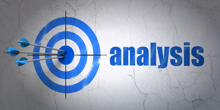 Success advertising concept: arrows hitting the center of target, Blue Analysis on wall background, 3d render photo