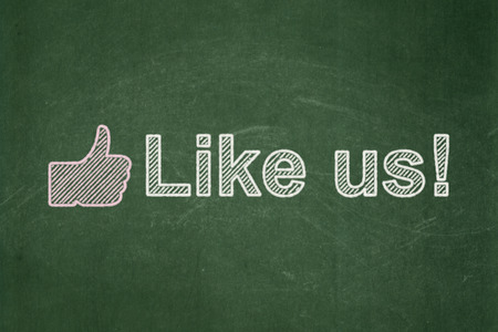 Social network concept: Thumb Up icon and text Like us! on Green chalkboard background, 3d render photo