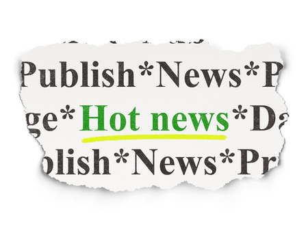 News concept: torn newspaper with words Hot News on Paper background, 3d render photo