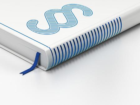 法の概念: 床、白い背景の青い段落アイコンと閉じた本