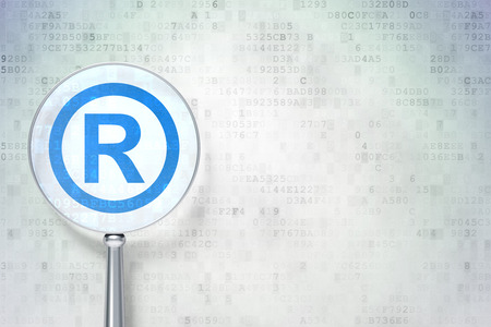 r regulation: Law concept: magnifying optical glass with Registered icon on digital background, empty copyspace for card, text, advertising, 3d render Stock Photo
