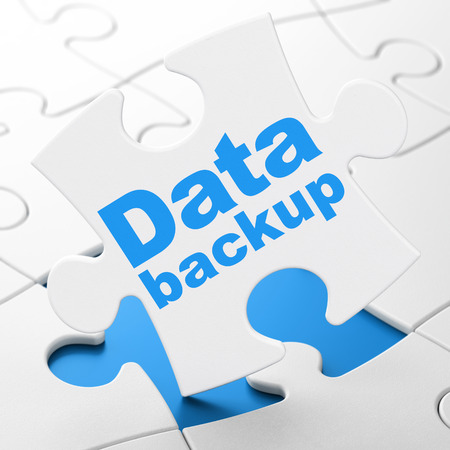 Information concept: Data Backup on White puzzle pieces background, 3d render photo