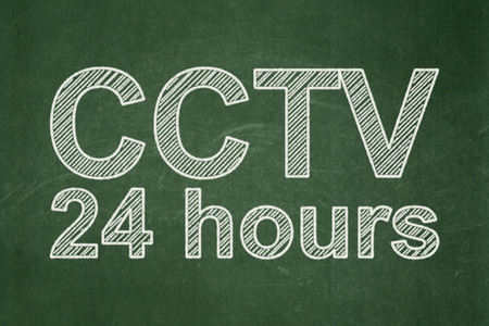 Privacy concept: text CCTV 24 hours on Green chalkboard background, 3d render photo