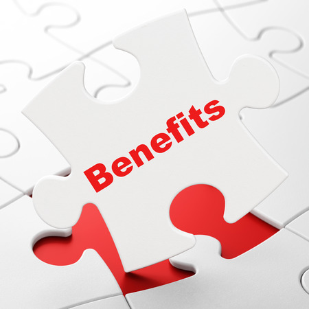 Business concept: Benefits on White puzzle pieces background, 3d render photo