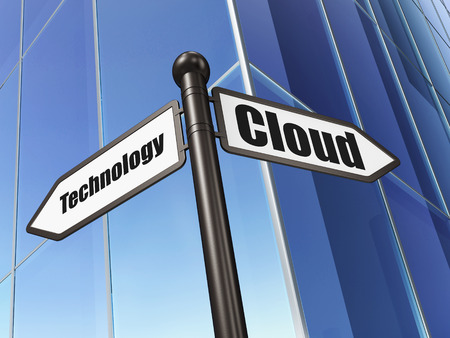 Cloud networking concept: sign Cloud Technology on Building background, 3d render photo