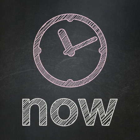 Timeline concept: Clock icon and text Now on Black chalkboard background, 3d render photo