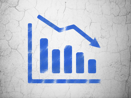 News concept: Blue Decline Graph on textured concrete wall background, 3d render photo