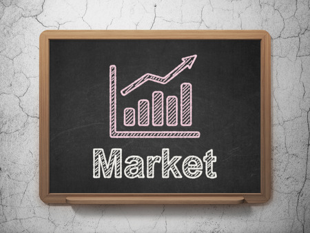Business concept: Growth Graph icon and text Market on Black chalkboard on grunge wall background, 3d render photo
