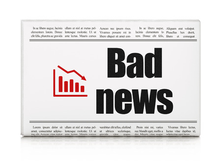 News concept: newspaper headline Bad News and Decline Graph icon on White background, 3d render photo